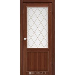Двери Корфад CL-02 Орех, стекло сатин белый+М2