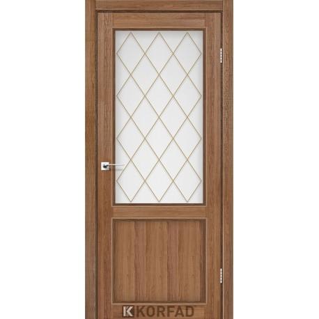 Двери Корфад CL-02 Дуб браш, стекло сатин белый+М2