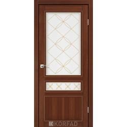 Двери Корфад CL-05 Орех, стекло сатин белый+М1