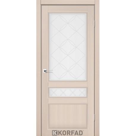 Двери Корфад CL-05 Дуб беленый, стекло сатин белый+М1