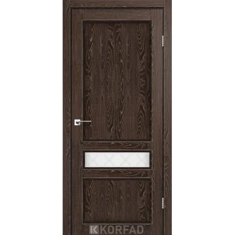 Двери Корфад CL-07 Дуб марсала, стекло сатин белый+М1
