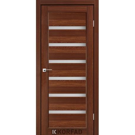 Дверь PR-01 Орех + стекло сатин белый